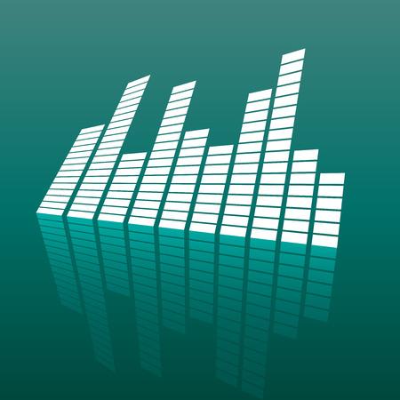 ミラーのベクトル サウンド波形アイコン。波の音と音楽のパルスはベクトル反射効果と緑の背景イラストです。