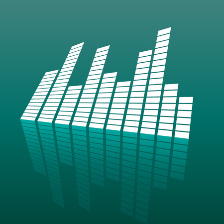 Vector sound waveforms icon on mirror. Sound waves and musical pulse vector illustration on green background with reflection effect. Illustration
