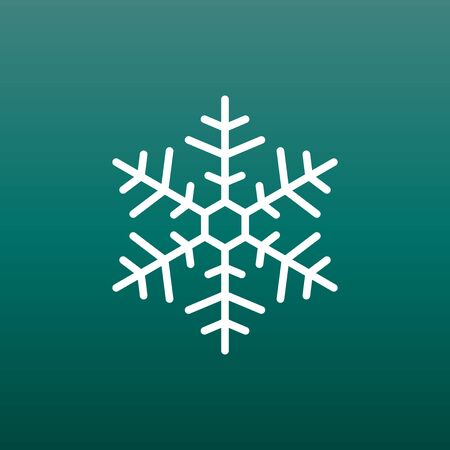 Snowflake icon vector illustration in flat style on green background. Winter symbol for web site design, logo, app, ui. Çizim