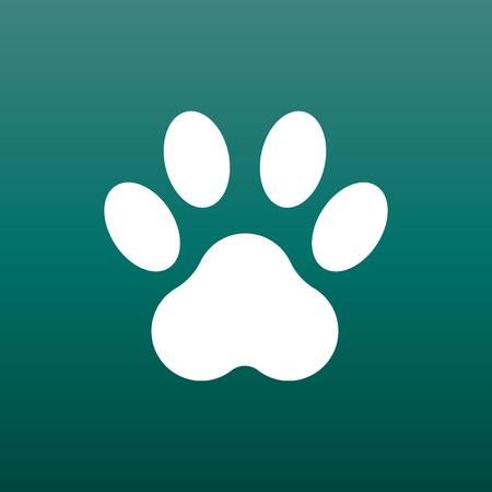 Patte impression icône vector illustration sur fond vert. Chien, chat, ours patte symbole plat pictogramme.