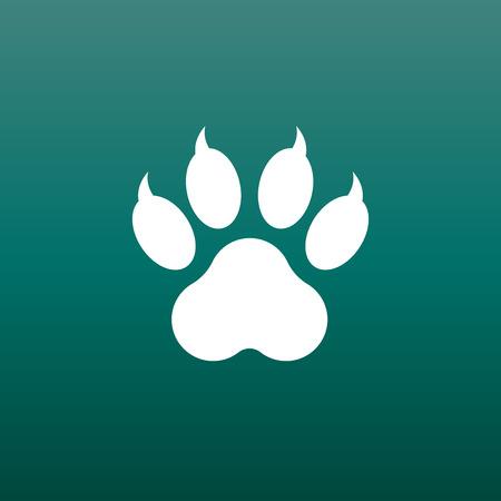 Patte impression icône vector illustration sur fond vert. Chien, chat, ours patte symbole plat pictogramme. Banque d'images - 76235562
