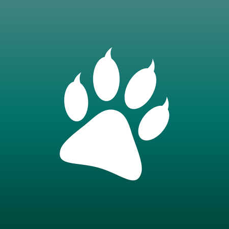 Paw print icon vector illustration on green background. Dog, cat, bear paw symbol flat pictogram.