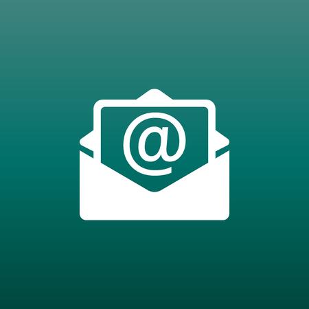 Mail envelop pictogram vector geïsoleerd op groene achtergrond. Symbolen van e-mail platte vectorillustratie. Stockfoto - 76235568