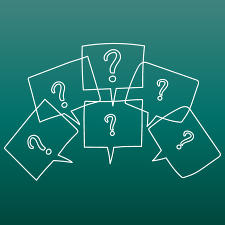 Question marks in thought bubbles. Hand drawn line art cartoon vector illustration on green background.