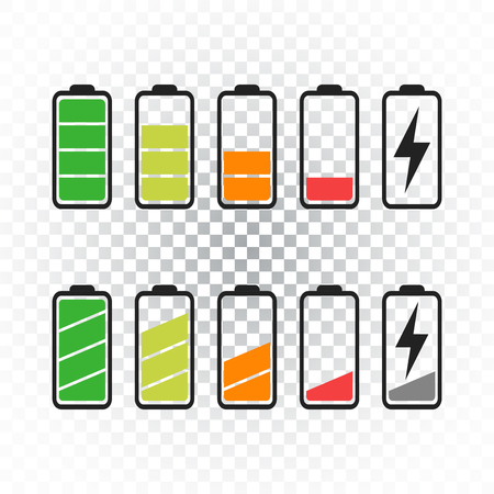 Battery icon vector set on isolated background. Symbols of battery charge level, full and low. The degree of battery power flat vector illustration. Ilustrace