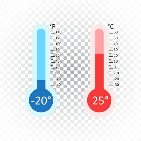 Celsius and Fahrenheit thermometers icon with different levels. Flat vector illustration on isolated background.
