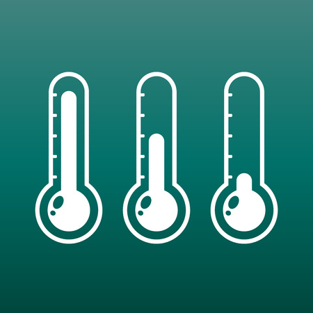 Thermometers icon with different levels. Flat vector illustration on green background.