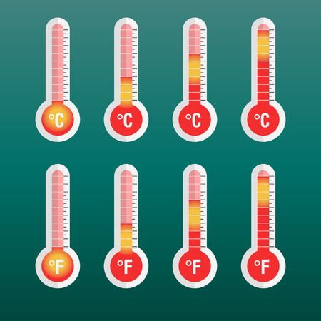sweltering: Thermometers icon with different levels. Flat vector illustration on green background.