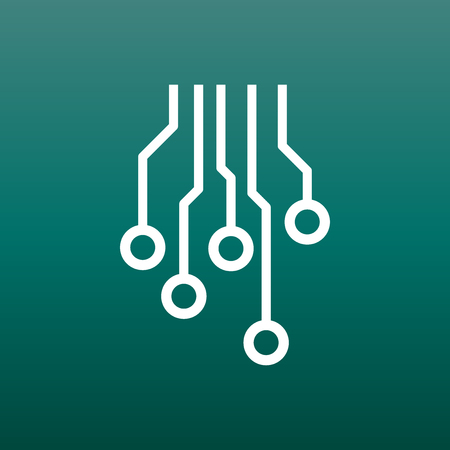 microcircuit: Circuit board icon. Technology scheme symbol flat vector illustration on green background.