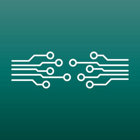 Circuit board icon. Technology scheme symbol flat vector illustration on green background.