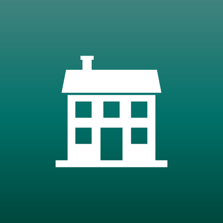 modern house: House icon. Vector illustration in flat style on green background.