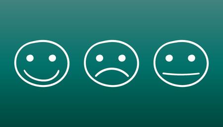 Hand drawn smiley icon. Emotion face vector illustration in flat style on green background. Illusztráció