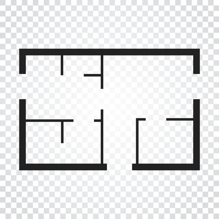 House plan simple flat icon. Vector illustration on isolated background. Vettoriali