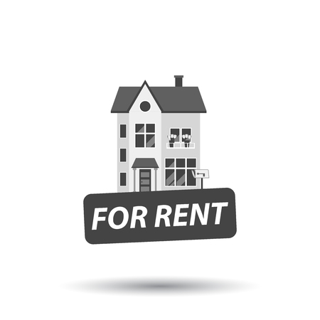 For rent sign with house. Home for rental. Vector illustration in flat style.