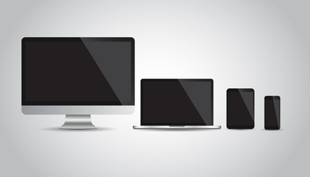 Realistic device flat Icons: smartphone, tablet, laptop and desktop computer. Vector illustration on grey background