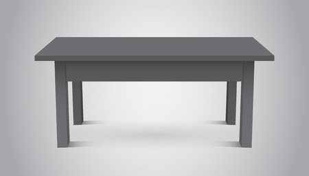 Vector 3d table for object presentation. Empty dark top table on grey background.
