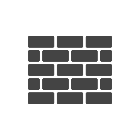 Wall brick icon in white style isolated on white background. Wall symbol illustration. 向量圖像