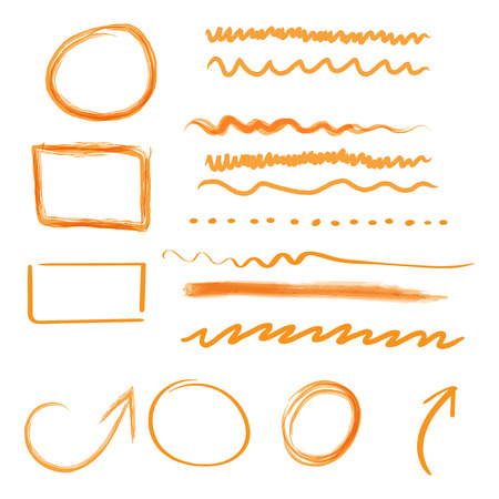 Hand drawn arrows and circles icon set. Collection of pencil sketch symbols. Vector illustration on white background.