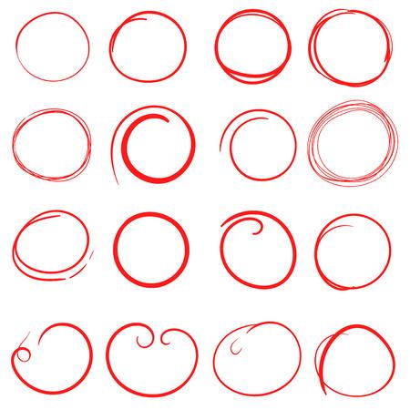 Hand getrokken cirkels pictogramserie. Verzameling van potloodschets symbolen. Vectorillustratie op witte achtergrond.