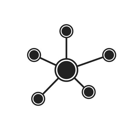 Soziales Netzwerk, Molekül, Dna-Symbol im flachen Stil. Vektor-Illustration. Illustration