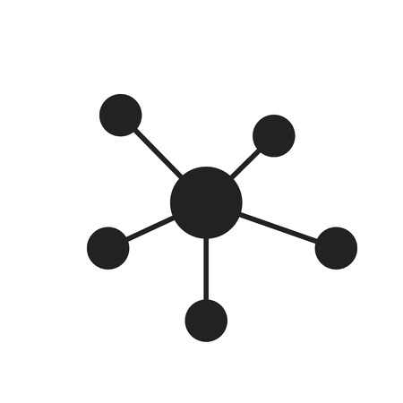 Social network, molecule, dna icon in flat style. Vector illustration.