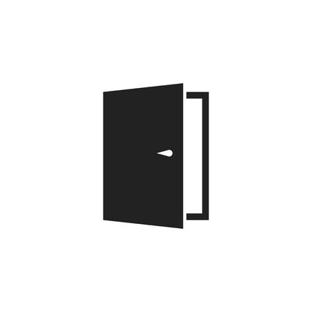 Door vector icon. Exit icon. Open door illustration.