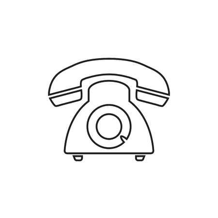 Phone icon, Old vintage telephone symbol illustration. Vettoriali