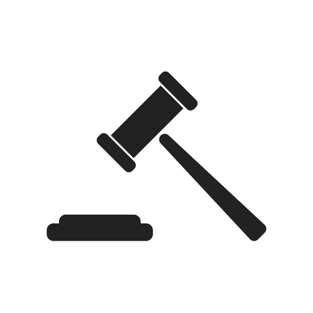 courthouse: Auction hammer vector icon. Court tribunal flat icon.