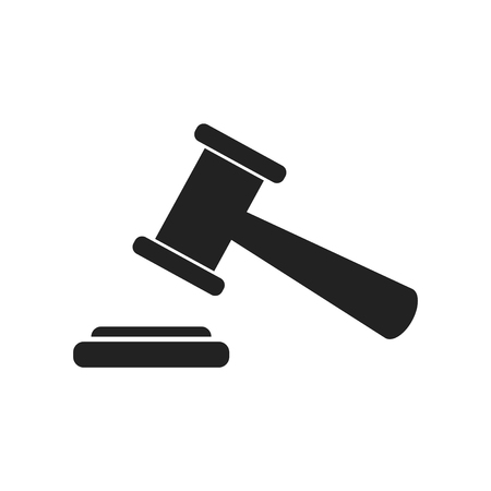 Auction hammer vector icon. Court tribunal flat icon.