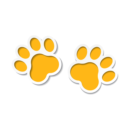 Paw print vector icon. Dog or kitten at paw print illustration. Animal silhouette.