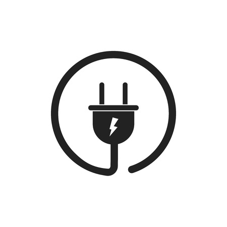 Plug vector pictogram. Voedingskabel kabel vlakke afbeelding. Stock Illustratie