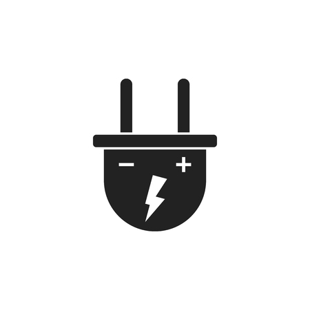 Plug vector icon. Power wire cable flat illustration.