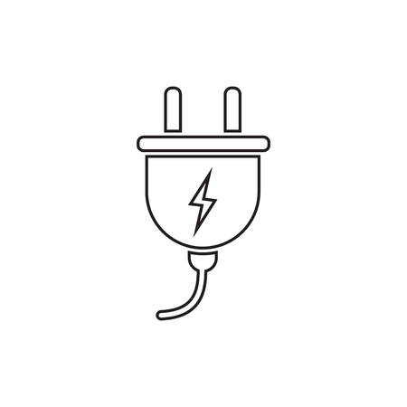 Plug vector icon in line style. Power wire cable flat illustration.