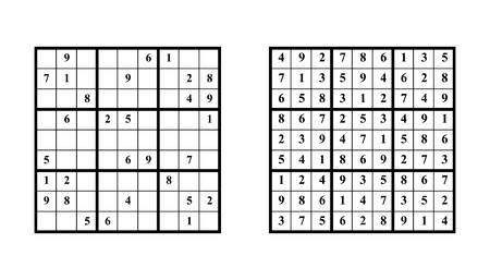 Sudoku game with answer. Vector puzzle game with numbers for kids and adults. Illustration on white background.