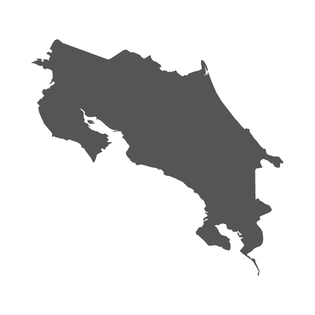 Costa Rica vector map. Black icon on white background.
