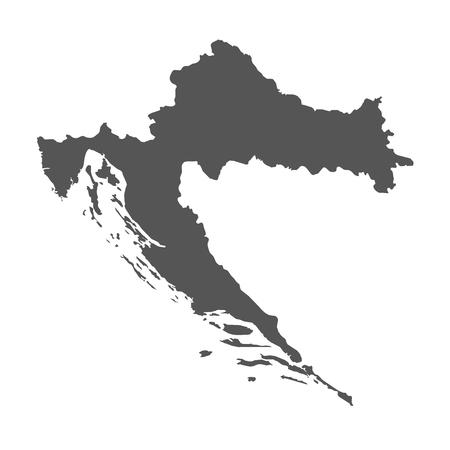 Kroatië vector kaart. Zwart pictogram op witte achtergrond.