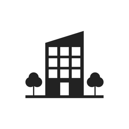 Building with trees icon. Business vector illustration.
