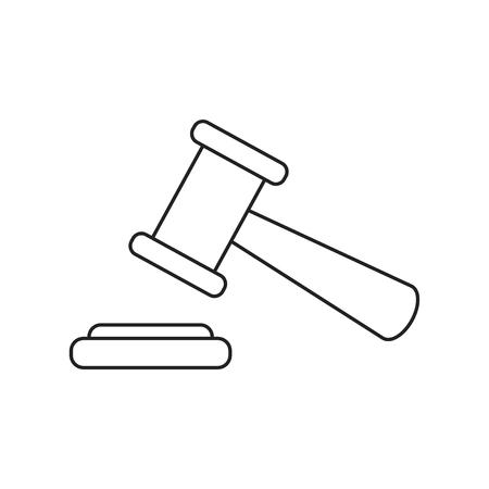 Auction hammer. Court tribunal flat icon.