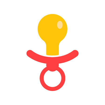 Baby pacifier icon. Child toy nipple vector illustration. Çizim