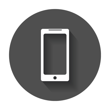 Flat smartphone icon. Phone with long shadow.