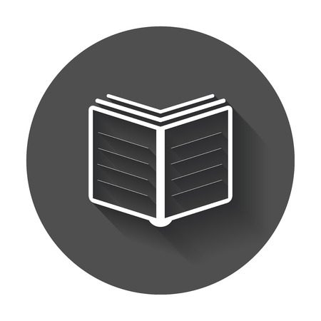 Book Icon vector flat. Education book with long shadow.