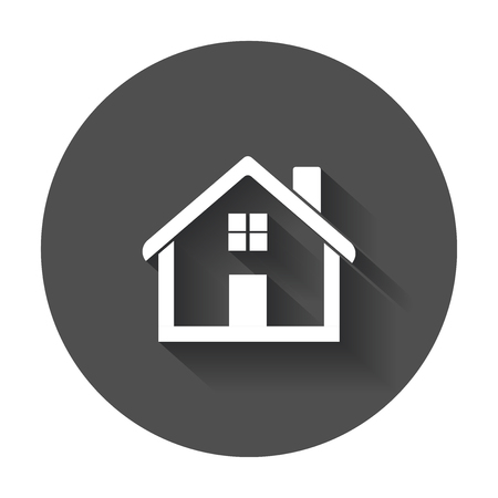 House flat vector icon. Home with long shadow.