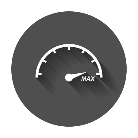 Speedometer, tachometer flat icon. Fuel level with long shadow. Illustration