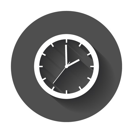 Clock Icon vector flat. Watch with long shadow. Ilustrace