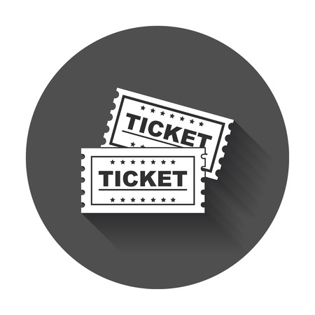 Ticket icon vector flat. Ticket with long shadow.