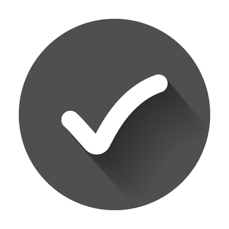 Check mark button. Flat vector icon with long shadow.