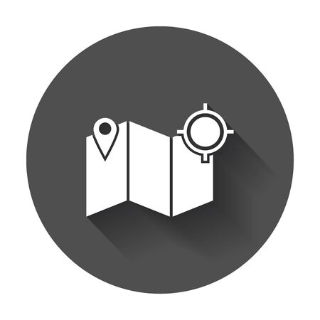 Location icon. Pin with map flat vector icon with long shadow.