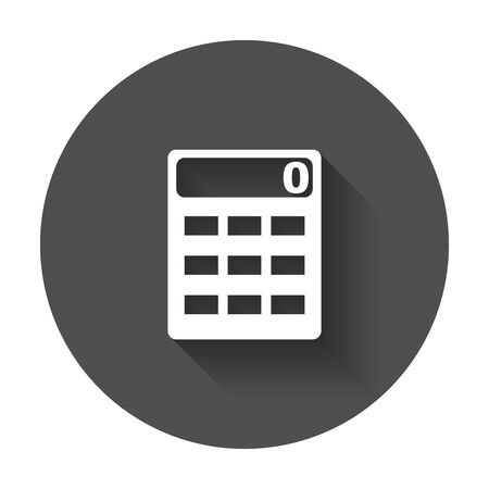 Calculator icon. Flat vector icon with long shadow.