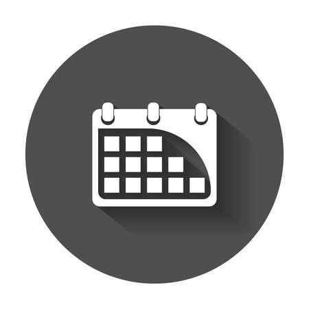Calendar Icon. Flat vector icon with long shadow.