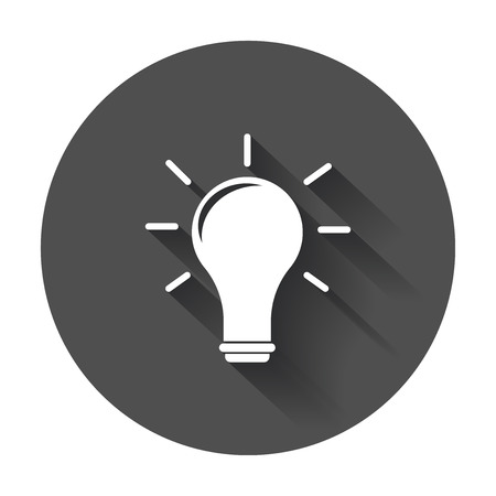 Idea icon vector flat. Light bulb icon vector with long shadow.
